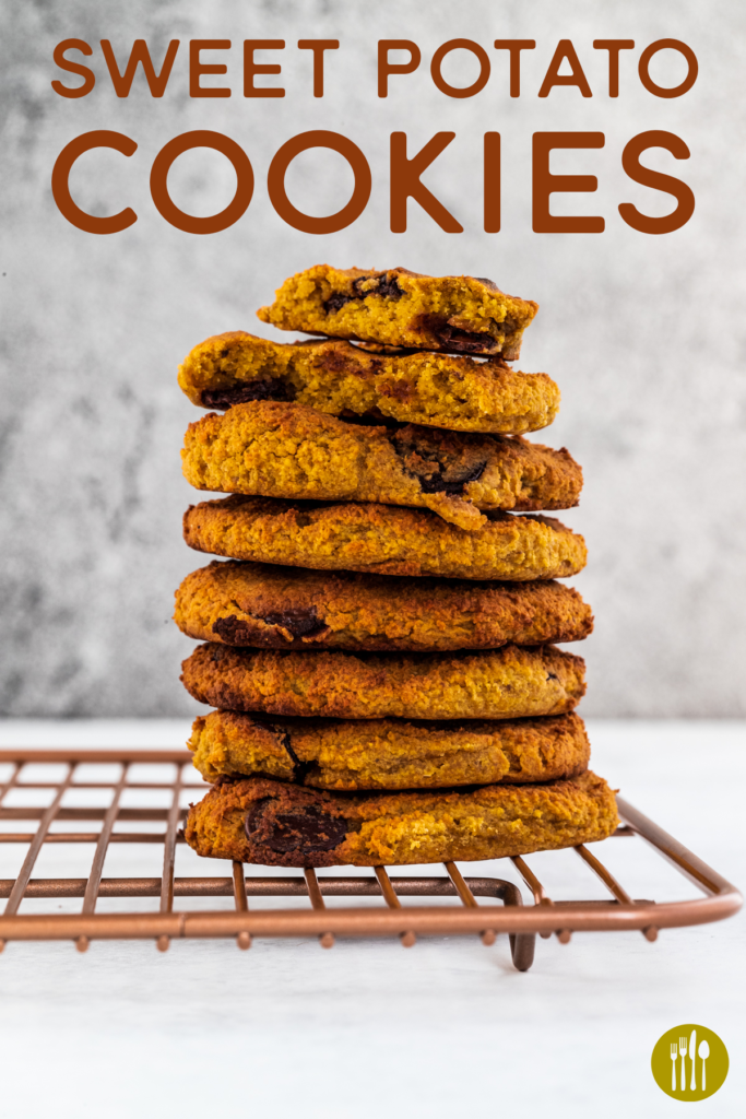 A stack of sweet potato cookies on a rose gold rack and white background and text above